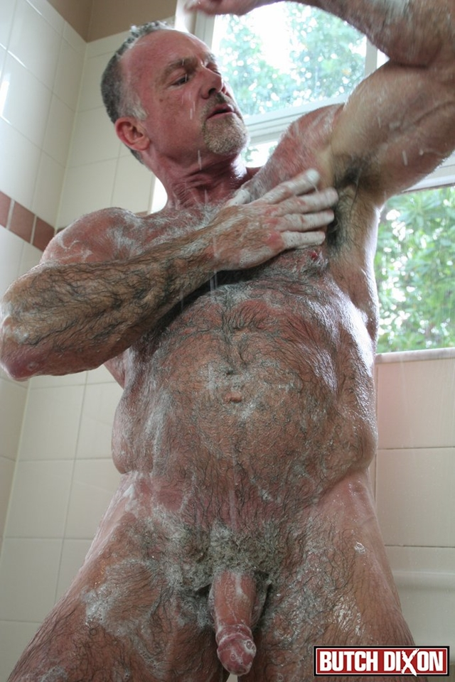 Butch-Dixon-silver-haired-hunk-older-mature-stud-Mickie-Collins-flexes-muscles-rubs-furry-tanned-skin-007-male-tube-red-tube-gallery-photo