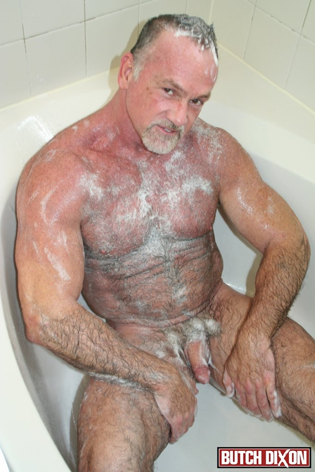 Butch-Dixon-silver-haired-hunk-older-mature-stud-Mickie-Collins-flexes-muscles-rubs-furry-tanned-skin-010-male-tube-red-tube-gallery-photo