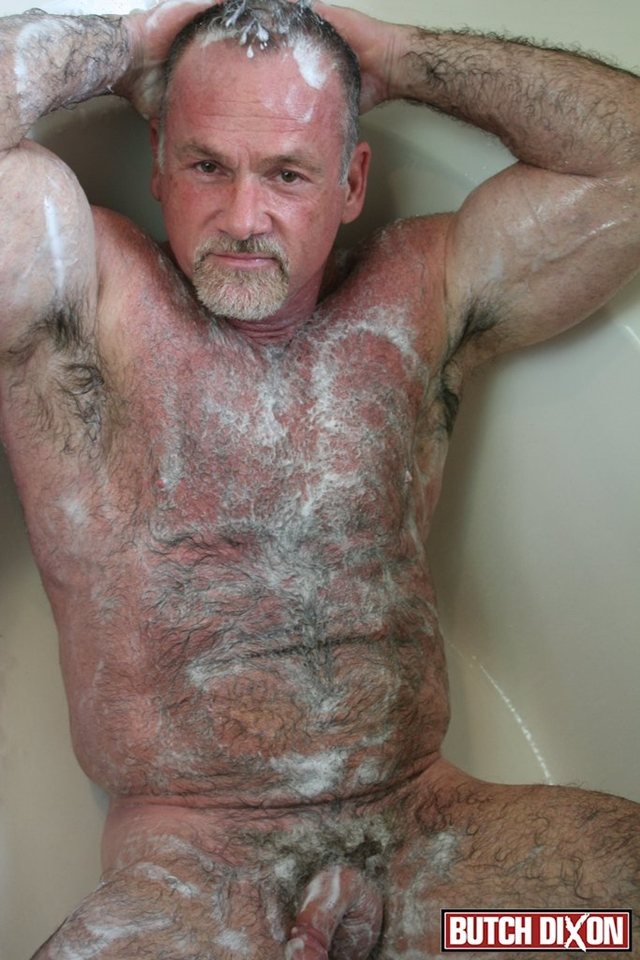Butch-Dixon-silver-haired-hunk-older-mature-stud-Mickie-Collins-flexes-muscles-rubs-furry-tanned-skin-013-male-tube-red-tube-gallery-photo