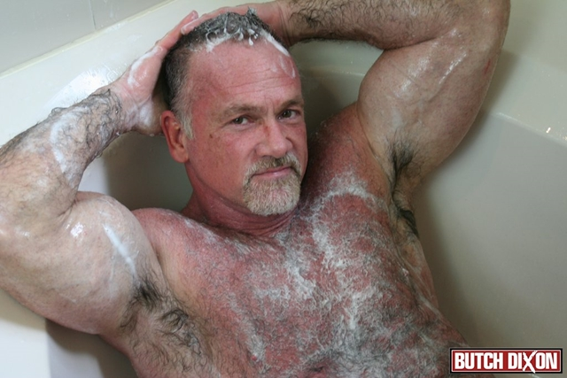 Butch-Dixon-silver-haired-hunk-older-mature-stud-Mickie-Collins-flexes-muscles-rubs-furry-tanned-skin-014-male-tube-red-tube-gallery-photo