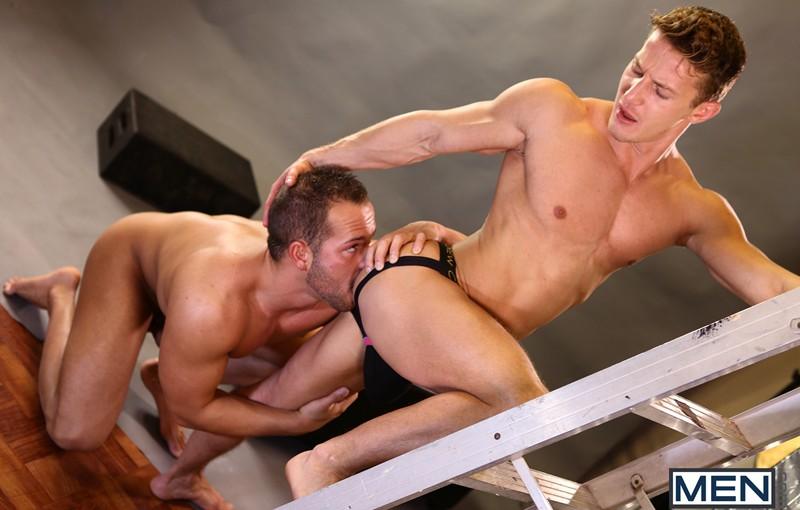 Sexy gay porn stars Luke Adams and Darius Ferdynand fucking ass